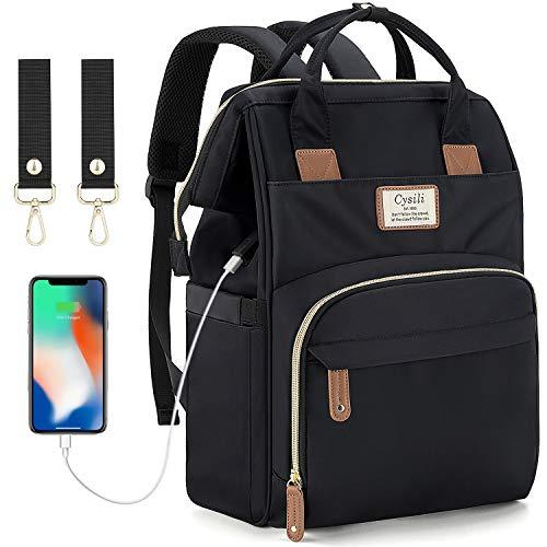 Blöjväska ryggsäck med USB-port, skötväska för blöjbyte ryggsäck väska med barnvagnsremmar, multifunktionell vattentät snygg tygväska (helsvart)