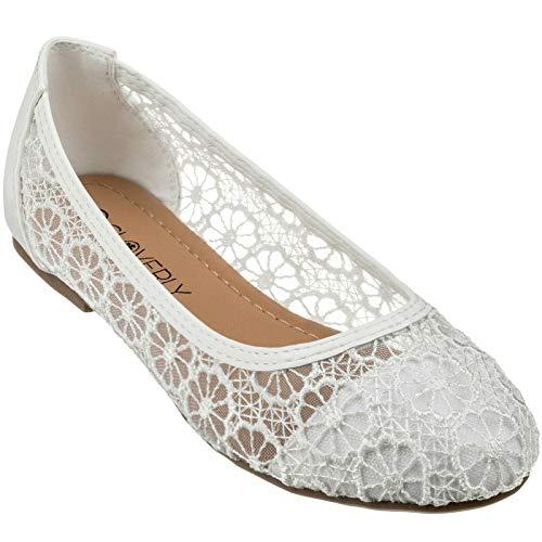 CLOVERLY Women s Ballet Shoe Floral Breathable Crochet Lace Ballet Flats (10 M US  White)