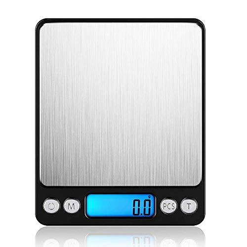 LEMCASE Báscula de Cocina Digital - Báscula Fina, Báscula de Bolsillo, Báscula Digital - Báscula electrónica Profesional con Pantalla LCD iluminada, 3 kg / 0.1 g de Capacidad | Negro