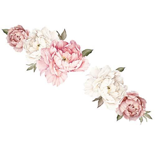Acuarela Rosa Peonía Blanca Rosa Flores Pegatinas De Pared Para Habitación De Niños Sala De Estar Dormitorio Decoración Del Hogar Calcomanía De Pared Decoración Del Hogar