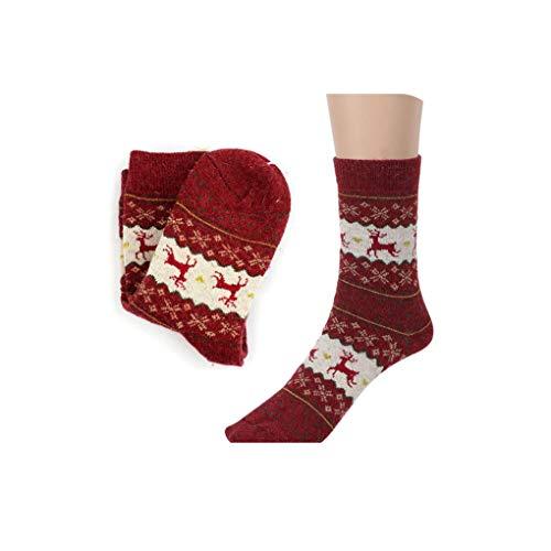 Calcetines de lana de punto casuales con diseño de ciervos -  -  Talla única