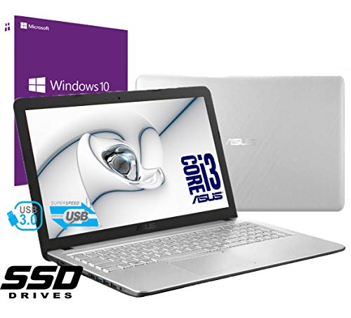 "Notebook Asus Vivobook Silver Portatile Pc Display da 15.6"" Cpu Intel i3 7th Gen 2,3ghz /Ram 8Gb DDR4 /SSD 240GB /HD Graphics 620 /Hdmi Dvd Rw Wifi Bluetooth /Windows 10 pro /Open Office /Antivirus"