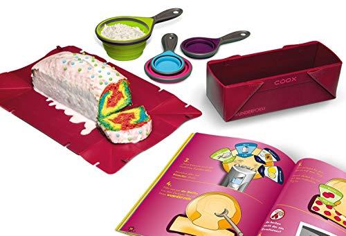 COOX Kinder-Backset Faltbare Silikon-Messbecher Wunderform S + Rezeptheft