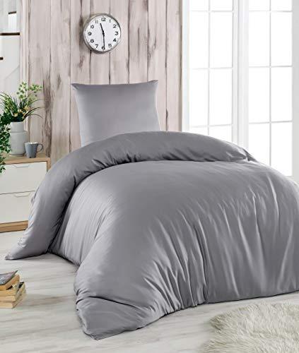 Melunda 2 TLG. Mako Satin Bettwäsche Set   Bettdeckenbezug 155x220 cm mit Kopfkissenbezug 80x80 cm   Grau   2 teilig Bettgarnitur   Baumwolle Bettbezug mit Reißverschluss
