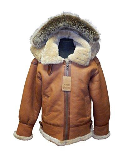 Jakewood Men's Shearling Bomber Winter Jacket with Hood (4X-Large, Pescana)