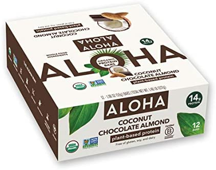 ALOHA Organic Plant Based Protein Bars Coconut Chocolate Almond 12 Count 1 98oz Bars Vegan Low product image