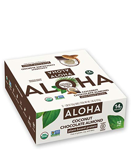 ALOHA Organic Plant Based Protein Bars |Coconut Chocolate Almond | 12 Count, 1.98oz Bars | Vegan, Low Sugar, Gluten Free, Paleo, Low Carb, Non-GMO, Stevia Free, Soy Free, No Sugar Alcohols…