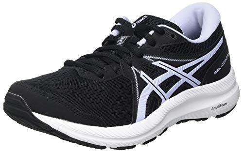 Asics Gel-Contend 7, Road Running Shoe Mujer, Black/Lilac Opal, 38 EU