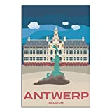 ASFGH Belgien Vintage Reise-Poster Antwerpen Dekor Malerei
