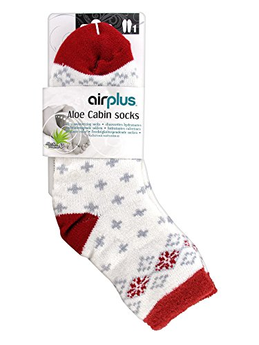 Airplus Aloe Cabin Chaussettes Hydratantes Pointure 35-41 - Blanc Flocons Rouges
