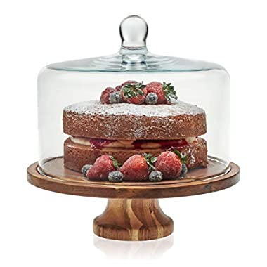 Libbey Acaciawood Footed Round Wood Server with Glass Dome, 11.6 inch Wood Server & 8.25 inch Glass Dome