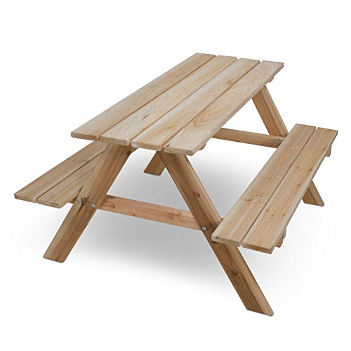 nxtbuy Table de Pique-Nique en Bois Non traité pour Enfants de 90 cm - Meuble Jardin résistante aux intempéries - avec Coins et Bords arrondis
