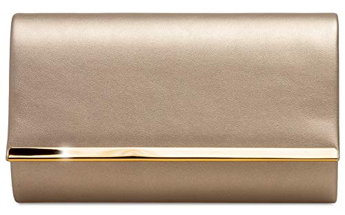 Caspar TA415 elegante Damen Envelope Clutch Tasche Abendtasche, Farbe:champagner, Größe:One Size