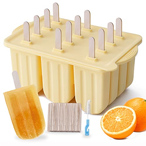 Popsicle Molds, MEETRUE 12 Pieces Silicone Popsicle Molds Easy-Release BPA-free Popsicle Maker Molds Ice Pop Molds Homemade Popsicle Ice Pop Maker with 50PCS Popsicle Sticks+Cleaning Brush, Yellow