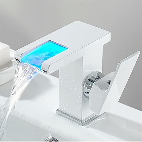 Fetcoi Grifo para lavabo con cascada LED, color blanco