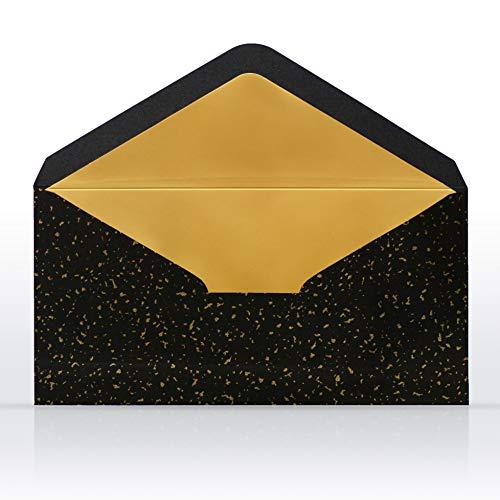 10 Briefumschläge Briefkuverts Schwarz mit Gold Metallic Innenfutter 110 x 220 mm für Grußkarten Gutscheine Geldgeschenke Einladungsumschläge