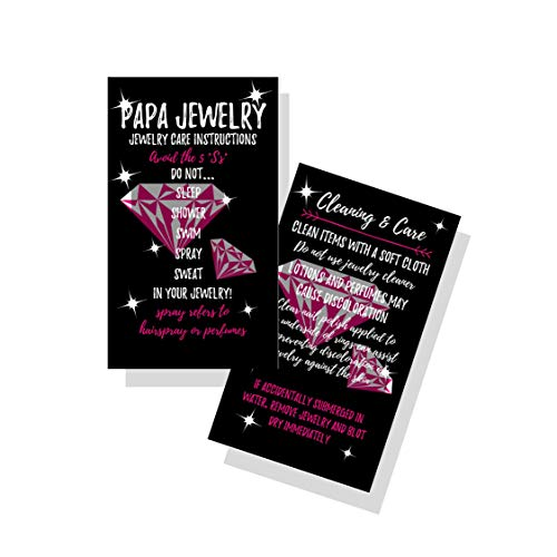 Jewelry Cleaning and Care Cards | Package of 50 | Bling Pink/White Diamonds | Jewelry Bling Queen Care Instructions