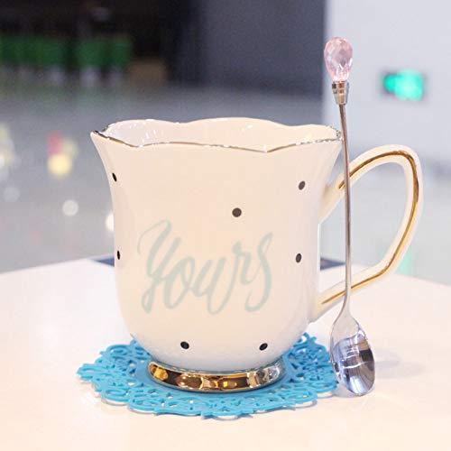 ZKGHJOKZ Mok keramiek 260 ml gouden rand koffiekopje bloem thee beker set keramische mok met diamanten lepel water cup