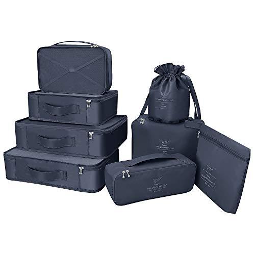 Koffer Organizer Reise Kleidertaschen 8 Sets/7 Farben Travel Gep?ck Organisatoren enthalten wasserdichte Schuh-Aufbewahrungsbeutel Bequeme Kompressions Beutel für Reisen ,Marine