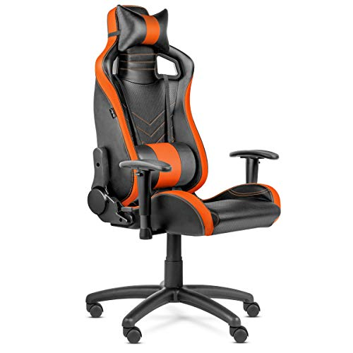 Kewayes - Silla Gaming Pro con 5 ruedas, silla oficina ergonómica y ajustable con reposacabezas y cojín lumbar, silla despacho reclinable de espuma de alta densidad y tejido 3D