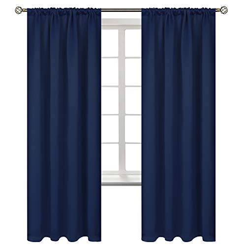 BGment Rod Pocket Blackout Curtains for Bedroom - Thermal Insulated Room Darkening Curtain for Living Room, 52 x 72 Inch, 2 Panels, Navy Blue