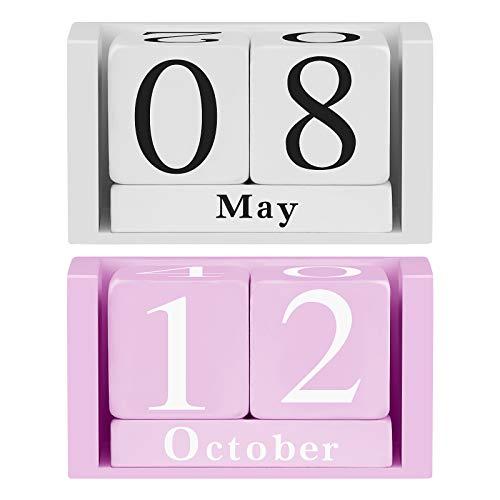 Himetsuya 2pc Calendario in legno Calendario da tavolo Blocchi di legno Design Visualizzazione della data del mese Calendari perpetui Decorazioni per lufficio in casa - Bianco e rosa