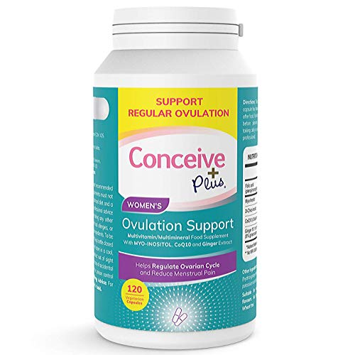 Conceive Plus Ovulation PCOS Support - Myo Inositol, Folate, CoQ10, Ginger Extract - More Balanced Regular Ovulation for PCOS, 120 Vegetarian Soft Capsules…