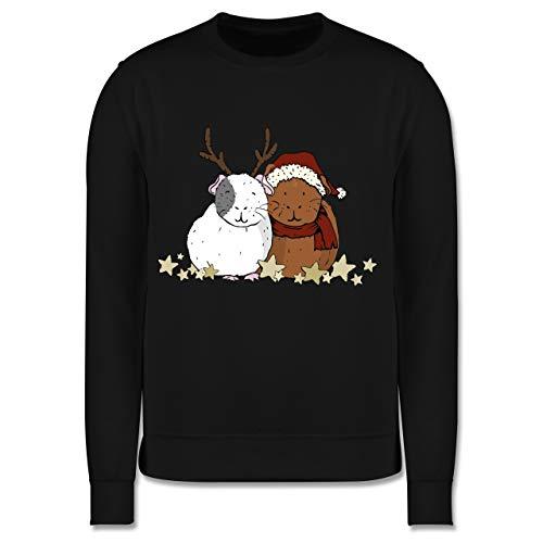 Shirtracer Weihnachten Kind - Weihnachtliche Meerschweinchen - 128 (7/8 Jahre) - Schwarz - weihnachtliche Pullover - JH030K - Kinder Pullover
