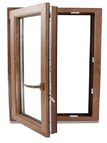 (V18M) Finestra PVC colore legno 600 x 600 Pract Osc. Rovere dorato (sinistra)