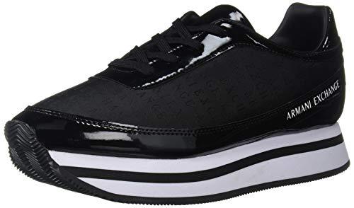 Armani Exchange Damen Nylon lace up Sneaker Schwarz Black K001, 39 EU