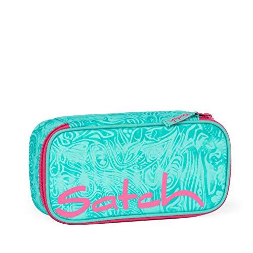 satch Schlamperbox - Mäppchen mit extra viel Platz, Trennfach, Geodreieck, Mehrfarbig - Aloha Mint - Grau