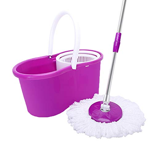 360° Spin Mop with Bucket & Dual Mop Heads Best Floor Mop Easy to Use - for Professional Home Floor Cleaning System with Integrated Wringer Bucket (Purple)
