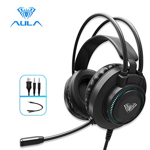 AULA S601 Wired Gaming Headset with Microphone Surround Sound, USB Dual 3.5mm Corded Volume Control Over-Ear Games Headphones, HD Noise Cancelling Mic for Phone PC/MAC Laptop