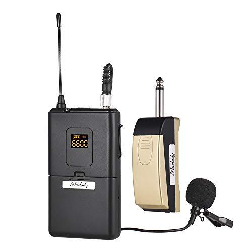 Muslady UHF Sistema de micrófono inalámbrico con receptor