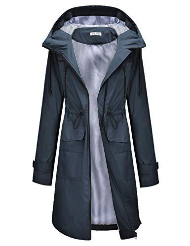 Waterproof Rain Jacket Active Outdoor Hooded Raincoats Women's Trench Coats Navy Blue L