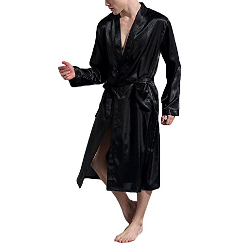 FY Uomo Unisex Kimono Robe Accappatoio Vestaglie Lunghe Imitazione Seta Bathrobe Pajamas Camicie Da Notte Homewear Dressing Gown Nightwear Spa Massager Partito Nero Taglia M