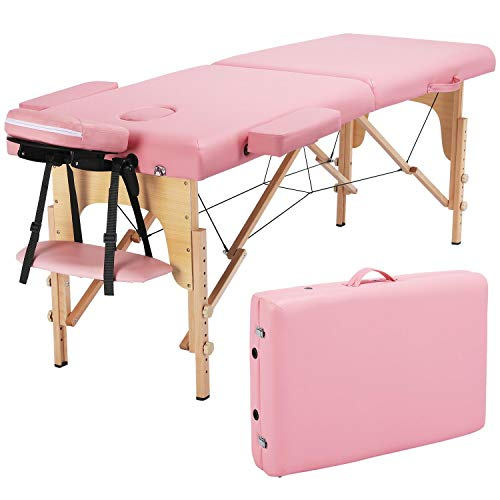 Yaheetech Fold Up Massage Spa Bed Facial Tattoo Salon Bed 2 Folding Massage Table with Carring Case Pink