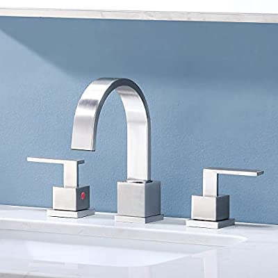 Friho Modern 2 Handle 3 Hole Brushed Nickel Bathroom Faucet, Widespread Bathroom Sink Faucet Lavatory Vanity Faucets with Water Supply Hoses