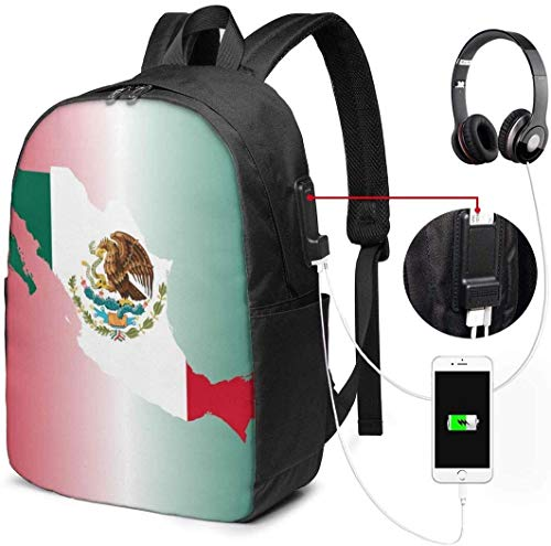 Llynice - Mochila unisex con puerto de carga USB, diseño de mapa de la bandera de México