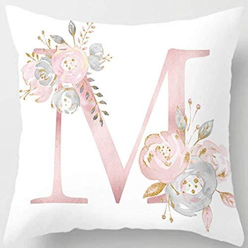 MineSpace fundas de almohada decorativas con diseño de letras ABC y flores, 18 x 18 pulgadas, cuadradas, para sofá, dormitorio, silla de coche, decoración del hogar