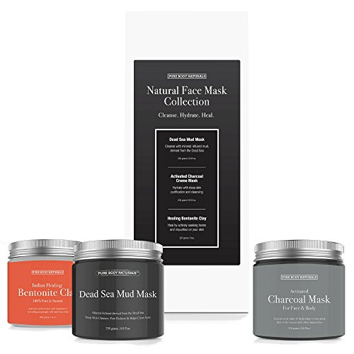 Facial Mask Gift Set with Dead Sea Mud Mask, Bentonite Clay and Charcoal Mask - Self Care Gifts for Women, Mom or Wife - Pure Body Naturals (8.8 oz. Each)