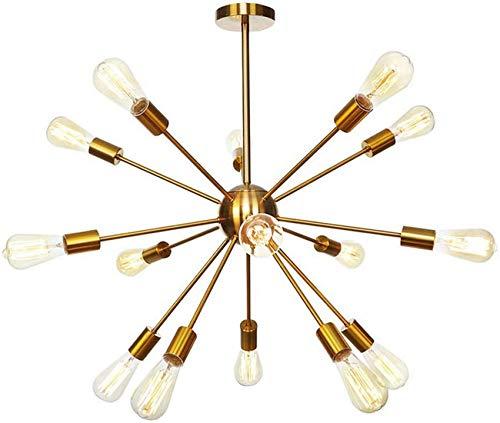 PXY Lámpara Colgante de Alta Gama Y Atractiva de Mediados de Siglo, Lámpara Colgante de 15 Luces Lámpara de Techo Rústica Antigua E26 Lámpara Colgante de Latón de Montaje Semi Empotrado para Pasillo,