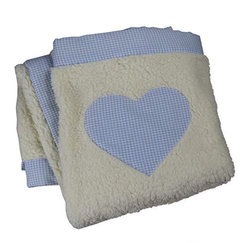 Babydeken met naam, deken met naam, knuffeldeken, geboortegeschenk, cadeau voor doop 75 x 90 cm blauw geruit