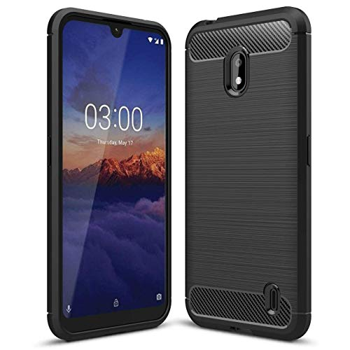Toppix kompatibel für Nokia 2.2 Hülle, Handyhülle TPU Silikon Soft Hülle Stoßfest [Carbon Fibre Texture] Cover Schutzhülle für Nokia 2.2 (Schwarz)