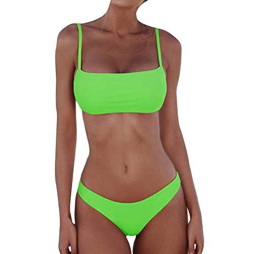 Xiaolian - Juego de bikini (acolchado, 2 piezas, sin hilos), verde, medium
