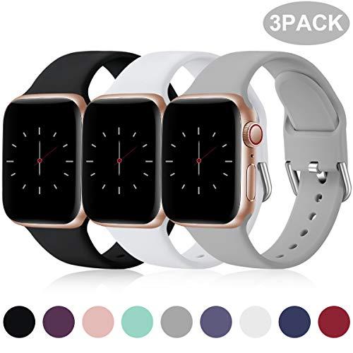 Wepro 3 Stück Armband Kompatibel mit Apple Watch Armband 38mm 42mm 40mm 44mm, Weiche Silikon Ersatz Armband Kompatibel mit iWatch Series 5, 4, 3, 2, 1, 38mm/40mm-S/M, Schwarz/Weiß/Grau