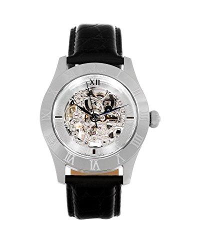 Continuum Uhr Automatikuhr Armbanduhr für Herren Männer Analog Skelettuhr Herrenuhr Männeruhr Leder Armband Schwarz Wasserdicht Klassisch Elegant Zifferblatt CO15005B