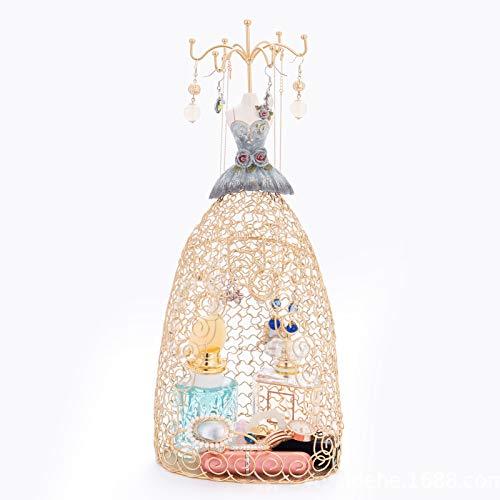 CHQY Soporte de exhibición de joyas, collar de rejilla de hierro, organizador de pendientes, estante de torre de vestido de princesa creativo para regalo de niñas (dorado) dorado