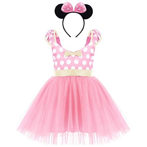 OBEEII Ragazze Abiti Vestito Costume da Dress Principessa Balletto Tutu Danza Body Ginnastica Polka Dots Cerchietto con Orecchie per Carnevale Festa di Compleanno Abito 2-3 Anni