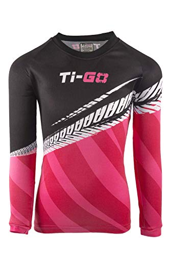 TiGO Kids Cycling MTB Soft Jersey Top Long Sleeve Biking Cycle Tops Quick Dry Breathable Mountain Bike Shirt Racing Bicycle Clothes Blue Pink Orange Ages 2 3 4 5 Punchy Pink 4-5 Years